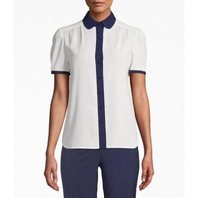 アンクライン レディース シャツ トップス Short Sleeve Peter Pan Collar Button Front Contrast Trim Blouse Anne White/Distant M
