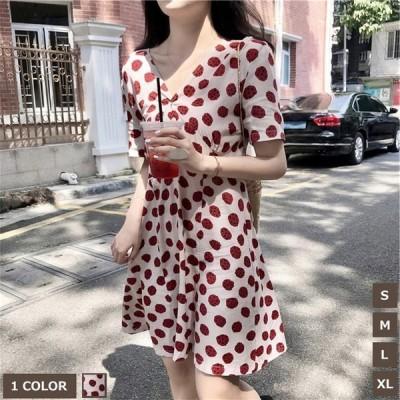 シフォンワンピースショート丈半袖ドット柄ワンピース着痩せ韓国風フェミニンVネックファッション