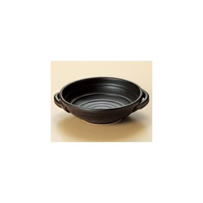 黒6号耐熱鉢(手付)(萬古焼)21.3×φ18×5.5cm