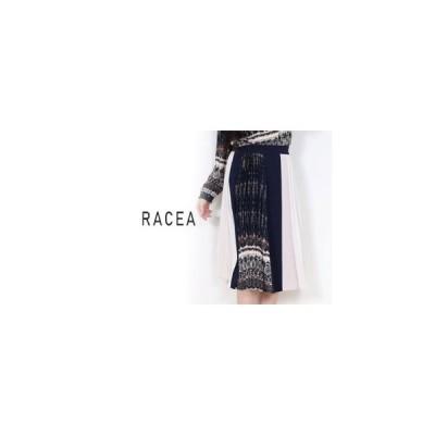 RACEA/ラシア  【在庫限り】スカーフ柄プリーツミックスひざ下スカート 【ネイビー】 Mサイズ 20400402