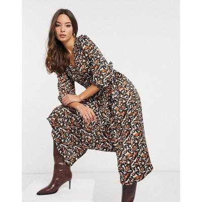 ヴェロモーダ レディース ワンピース トップス Vero Moda midi dress in abstract animal print