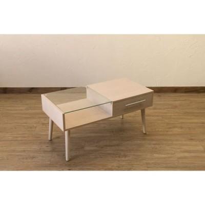 引き出し付きセンターテーブル/ローテーブル 〔ナチュラル〕 幅80cm 強化ガラス天板 組立品 送料無料〔代引不可〕
