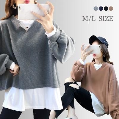 韓国ファッション 切り替え セーター/重ね着風ニット/レディース 長袖 ニットパーカー/ ランタンの袖 切り替えゆったり感体型カバー ニット+ブラウス セーター/おしゃれ カジュアル