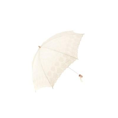 日本製綿サテン エンブロイダリー刺繍 パラソル 折りたたみ傘 花柄 UV加工バリエーションあり