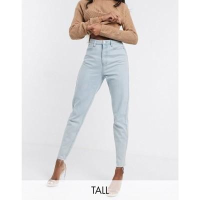ミスガイデッド Missguided Tall レディース ジーンズ・デニム ボトムス・パンツ Riot mom jeans with raw hem in light wash blue ブルー