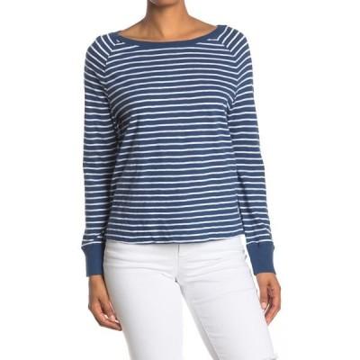 スジーナ レディース Tシャツ トップス Raglan Sleeve Boat Neck Top BLUE- WHITE NORTHSHORE STRIPE