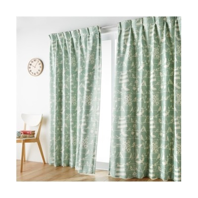 【1cm単位オーダー】北欧風小鳥柄遮光カーテン(1枚) ドレープカーテン(遮光あり・なし) Curtains, blackout curtains, thermal curtains, Drape(ニッセン、nissen)