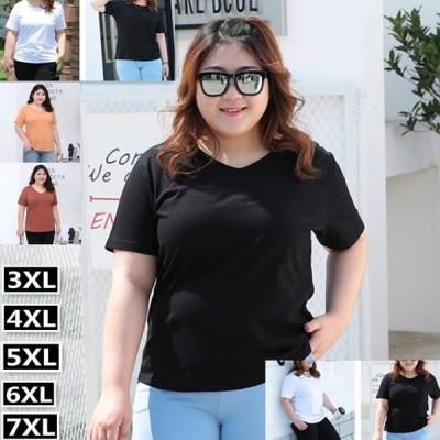 大きいサイズ ビックサイズ Tシャツ tシャツ レディース 3XL 4XL 5XL 6XL 7XL 半袖 コットン 綿 無地 ブラック ホワイト 黒 白 ストレッチ 伸びる 伸縮性