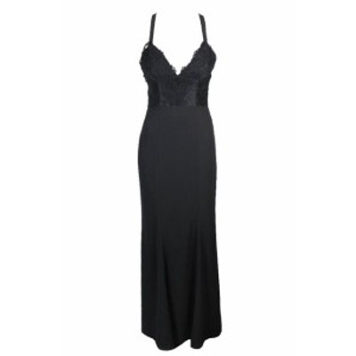 ファッション ドレス Fame And Partners Black Strappy-Back Lace Mermaid Gown 4