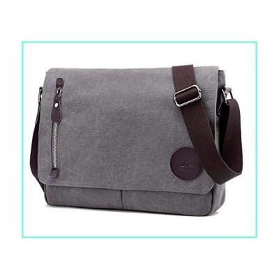 DOURR Canvas Messenger Bag Unisex Casual Satchel Crossbody Bags Bookbag Briefcases for Men and Women Fits 13 Inch Laptop (gray)並行輸入