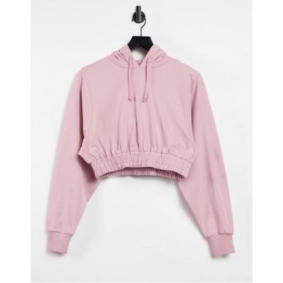 エイソス ASOS 4505 レディース パーカー クロップド トップス cropped hoodie with elasticated waist ベビーピンク