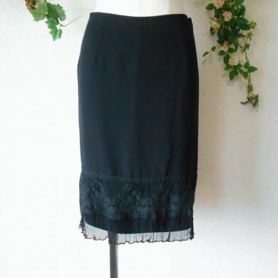 レッセパッセ LAISSE PASSE レース の 素敵 な スカート 黒 36