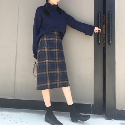 アムールボックス AMOUR BOX レトロチェック柄スカート スカート チェック柄 秋 冬 2019 AW (ブルー)