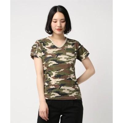 tシャツ Tシャツ avirex/アヴィレックス/レディース/S/S V-NECK CAMOUFLAGE FATIGUE T-SHIRT/半袖 Vネッ