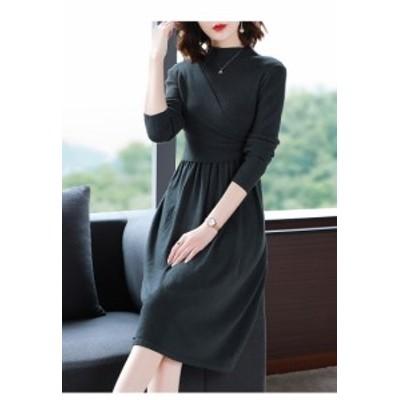 40代のレディースファッション 大きいサイズのレデースファッション ニット ワンピ 秋冬 体型カバー 長袖 30代 50代 60代 K0719