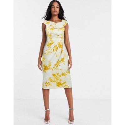 エイソス ミディドレス レディース ASOS DESIGN drape fallen shoulder midi pencil dress in mustard floral print エイソス ASOS マルチカラー