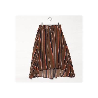 スタイルブロック STYLEBLOCK パウダーサテンマルチストライププリントスカート (ブラウン)