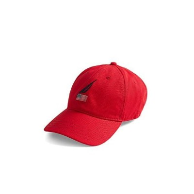 Nautica メンズ アメリカ国旗ロゴ 6パネル ベースボールキャップ US サイズ: One Size カラー: レッド