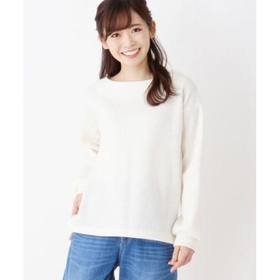 pink adobe/ピンクアドベ 裏起毛ワッフルプルオーバー アイボリー(004) 40(L)