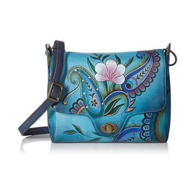 Anna by Anuschka Hand Painted Leather Women'S Flap Messenger, Denim Paisley Floral 並行輸入品