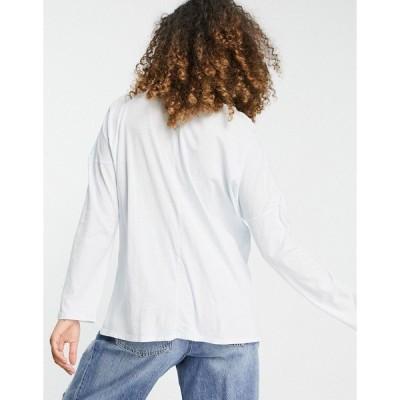コットン オン レディース Tシャツ トップス Cotton:On relaxed long sleeve T-shirt in blue Washed illlusion blue