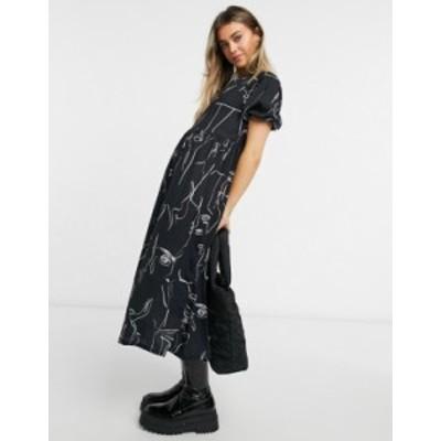 エイソス レディース ワンピース トップス ASOS DESIGN tiered midi smock dress with graphic face outline print in black Black