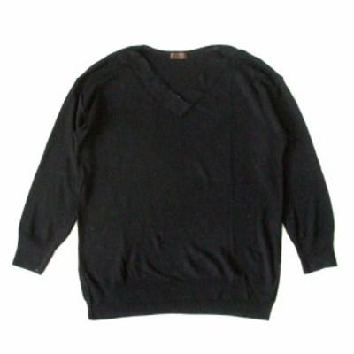 PROFILE プロフィール ニットセーター (黒) 103432【中古】