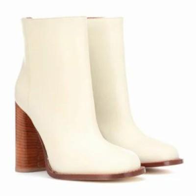マルニ ブーツ Leather ankle boots Alabaster