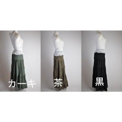 訳あり処分 Mサイズ/Lサイズ/大きいサイズ カーキ・茶色・黒 ウエストゴム入りマキシ丈スカート 8330