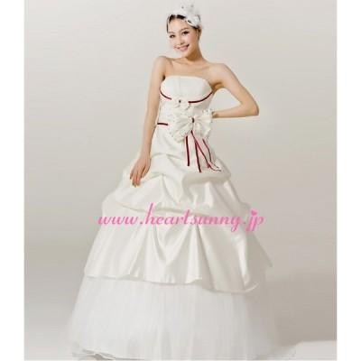 ウェディングドレス ボートネックビスチェ スパンコール飾り蝶結び 編み上げ E037