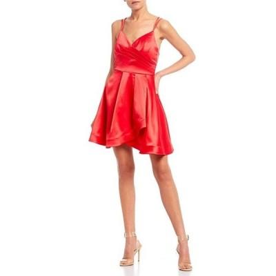シークインハーツ レディース ワンピース トップス Double Spaghetti Strap Satin Faux-Wrap Dress