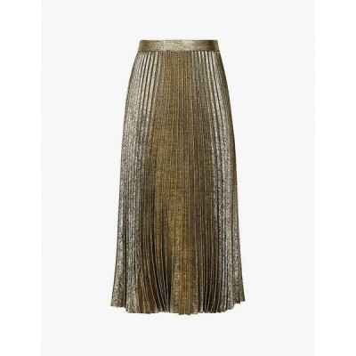 リース REISS レディース ひざ丈スカート スカート Gemma metallic pleated satin-crepe skirt GOLD