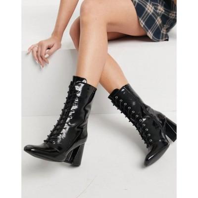 グラマラス Glamorous レディース ブーツ ショートブーツ レースアップブーツ シューズ・靴 Lace Up Heeled Ankle Boots In Black Patent ブラック