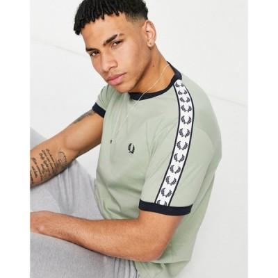 フレッドペリー Fred Perry メンズ Tシャツ トップス taped ringer t-shirt in light green グリーン