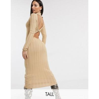 ミスガイデッド Missguided Tall レディース ワンピース ワンピース・ドレス rib midaxi dress with cross back in sand サンド