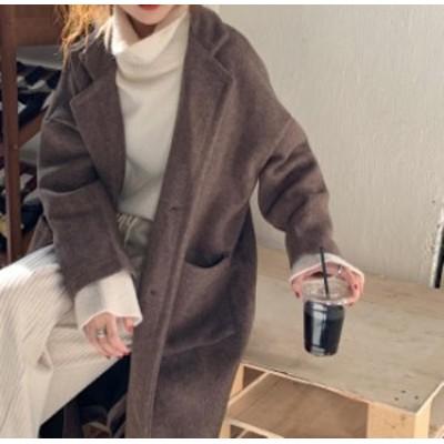 韓国 ファッション レディース チェスターコート ロングコート アウター ゆったり 無地 レトロ カジュアル 大人可愛い シンプル 秋冬