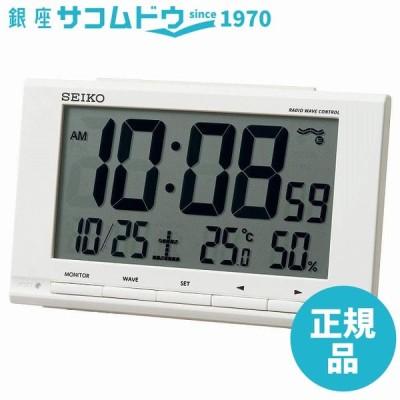 セイコークロック 置き時計 白 本体サイズ:9.1×14.8×4.7cm 目覚まし時計 電波 デジタル カレンダー 温度 湿度 表示 SQ789W [4517228040528-SQ789W]