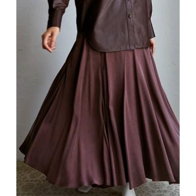 スカート フィブリルサテンロングスカート