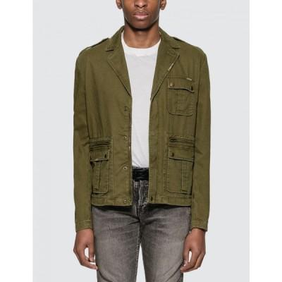 イヴ サンローラン Saint Laurent メンズ ジャケット アウター saharienne jacket in cotton gabardine Khaki