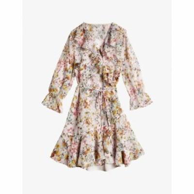 テッドベーカー TED BAKER レディース ワンピース ラップドレス ワンピース・ドレス Gracye Jasmine-print ruffle crepe wrap dress DUSK