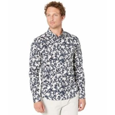 マイケルコース メンズ シャツ トップス Long Sleeve Leaf Print Shirt Dark Midnight