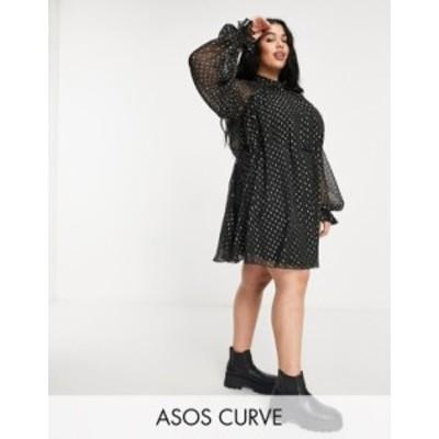 エイソス レディース ワンピース トップス ASOS DESIGN Curve high neck mini dress in jacqaurd chiffon with tie detail Black