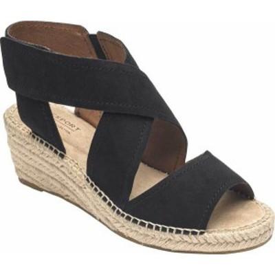 ロックポート レディース サンダル シューズ Women's Rockport Cobb Hill Kairi X Strap Wedge Sandal Black Leather