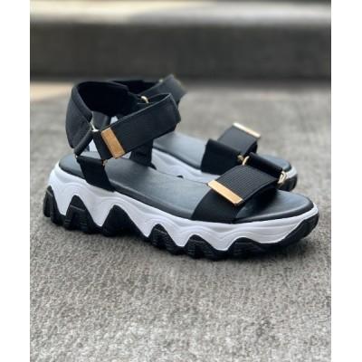 Shoes in Closet -シュークロ- / 厚底凹凸ボリュームソール ゴールドバックルベルクロ厚底サンダル 《約4.5㎝ソール》7466 WOMEN シューズ > サンダル