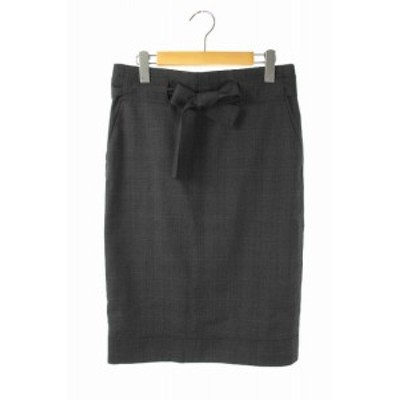 【中古】イザベル マラン エトワール ISABEL MARANT ETOILE スカート タイト 膝丈 グレンチェック ベルトリボン 36