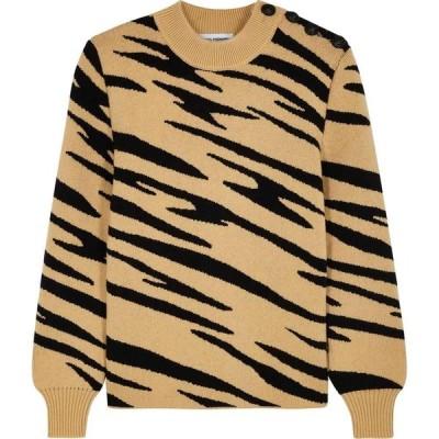 パコラバンヌ Paco Rabanne レディース ニット・セーター トップス Camel Tiger-Intarsia Wool Jumper Natural