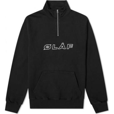 オラフハンセン Olaf Hussein メンズ スウェット・トレーナー トップス OLAF Italic Zip Mock Sweat Black