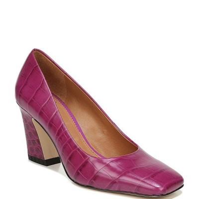 フランコサルト レディース パンプス シューズ Sarto by Franco Sarto Graciana Croc Embossed Leather Square Toe Pumps Purple