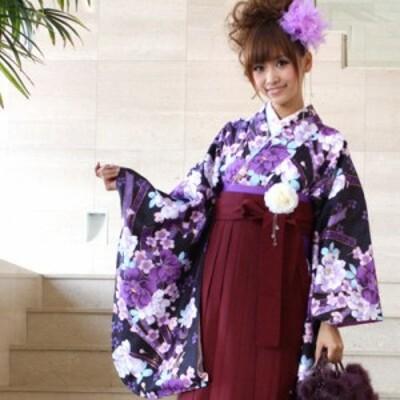 卒業式 袴 レンタル 2尺袖着物&袴 フルセットレンタル 黒 紫