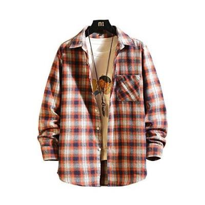 CXYYシャツ メンズ 長袖 チェックシャツ カジュアル ギンガムチェック shirt ネルシャツ (4.オレンジ XL)
